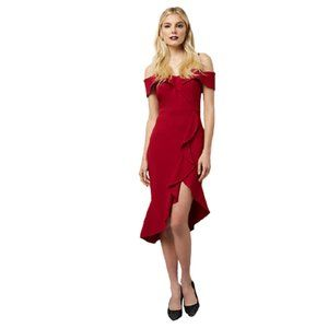 NWT Le Chateau Cold Shoulder Ruffle Dress in Cherry Red